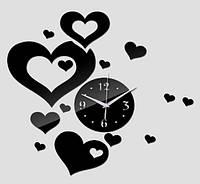 Настінні 3Д годинники чорні сердечка