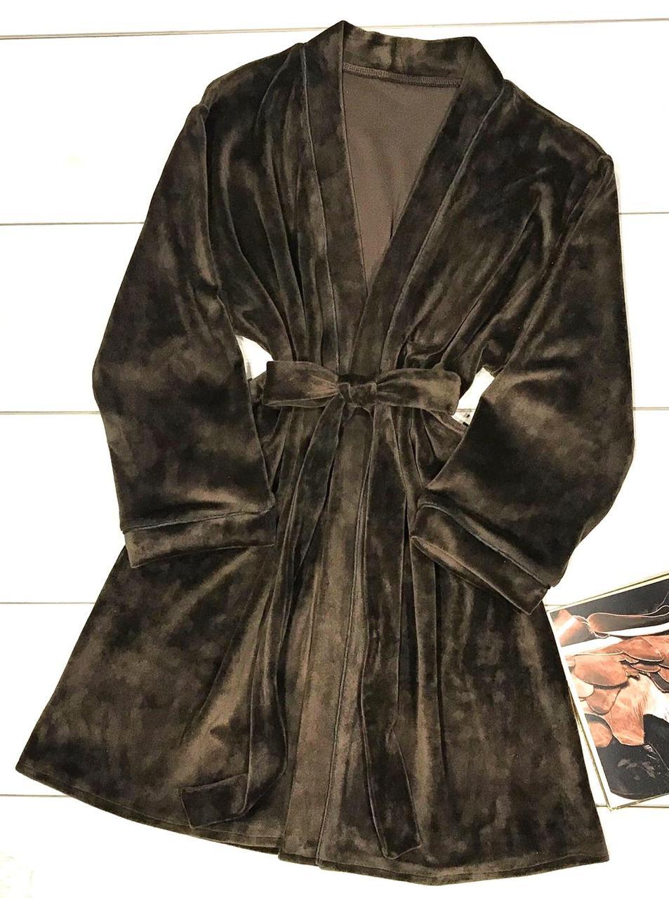 Чарівний домашній халат кольору шоколад