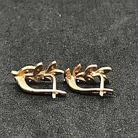 Золотые серьги Б/У с фианитами 585 пробы, вес 3.36 г., фото 3