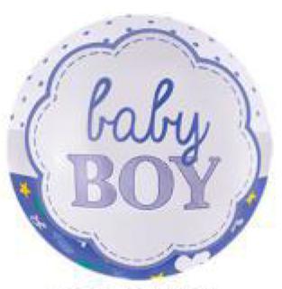 """Коло фольговане 18"""" Фольга Baby Boy Білий фон"""