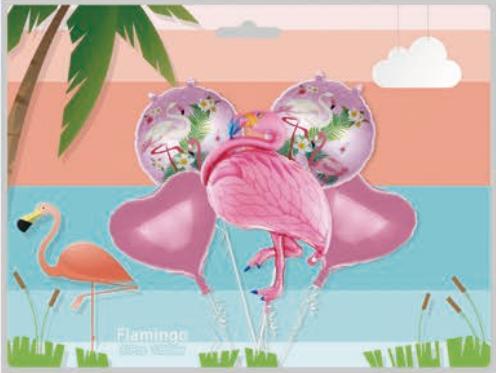 Набор из фольгированных шаров в упак. Фламинго