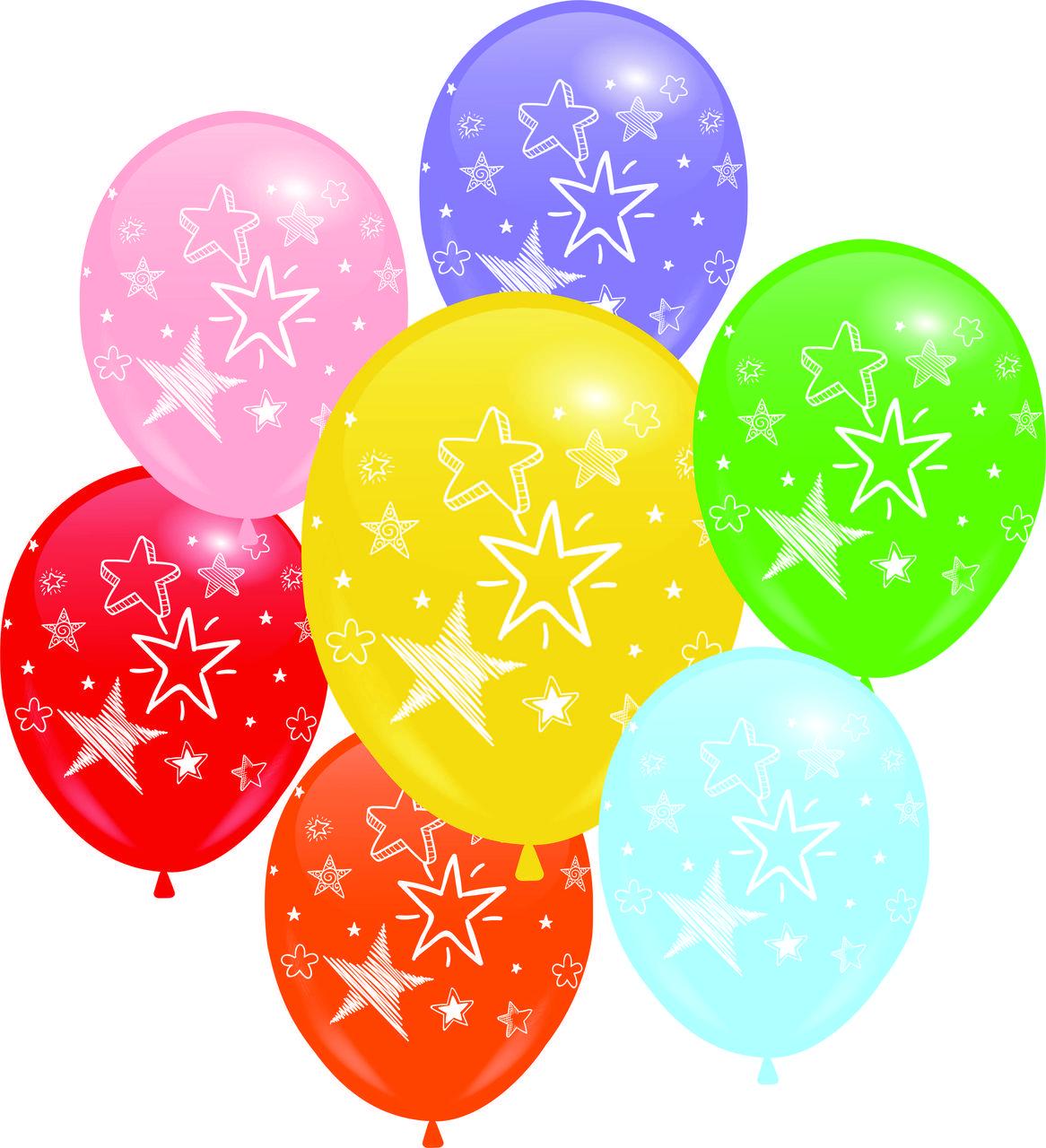 """Воздушные шары 12"""" с рисунком Звёзды белые 4 ст."""