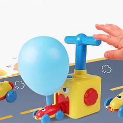 """Машинки с шариками """"Воздушные Гонки"""" Air Balloon Car Желтый аеромобиль, шарики с машинками + насос  (GK)"""