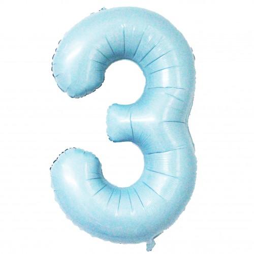 """Фольгована цифра """"3"""" Slim ніжно-блакитна в упаковці"""