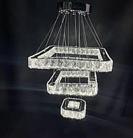 Подвесная светодиодная хрустальная люстра квадраты хром 55W, фото 1