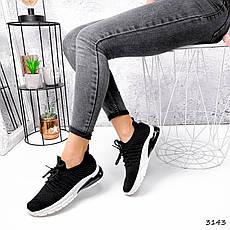Кроссовки женские с сеточкой черные на белой подошве. Кроссовки спортивные текстильные, тканевые, фото 2