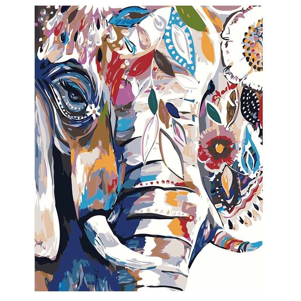"""Набір для розпису по номерах VA-1210 """"Абстрактний слон"""", розміром 40х50 см"""