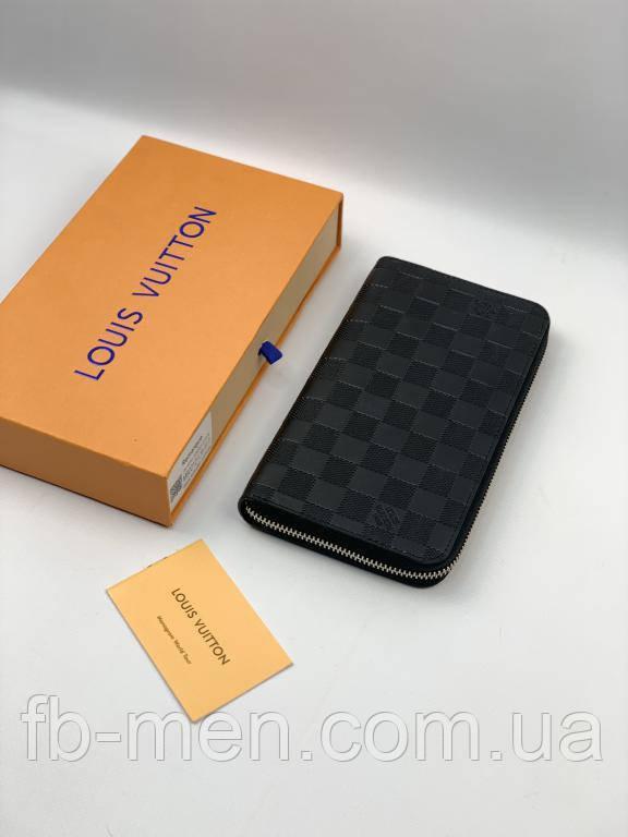 Мужской кошелек Louis Vuitton   Органайзер черный Louis Vuitton   Кожаный клатч Луи Виттон на молнии