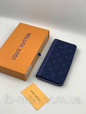 Бумажник Louis Vuitton на молнии синий монограмм | Кошелек Луи Виттон кожаный мужской женский| Портмоне LV