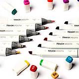 Качественные скетч маркеры Touch Smooth 120 шт. Профессиональные двусторонние спиртовые маркеры для скетчинга, фото 7