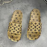 Жіночі гумові шльопанці Louis Vuitton Gold | Тапочки Луї Вітон Золото, фото 1