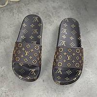 Жіночі гумові шльопанці Louis Vuitton Brown | Тапочки Луї Вітон Коричневі, фото 1