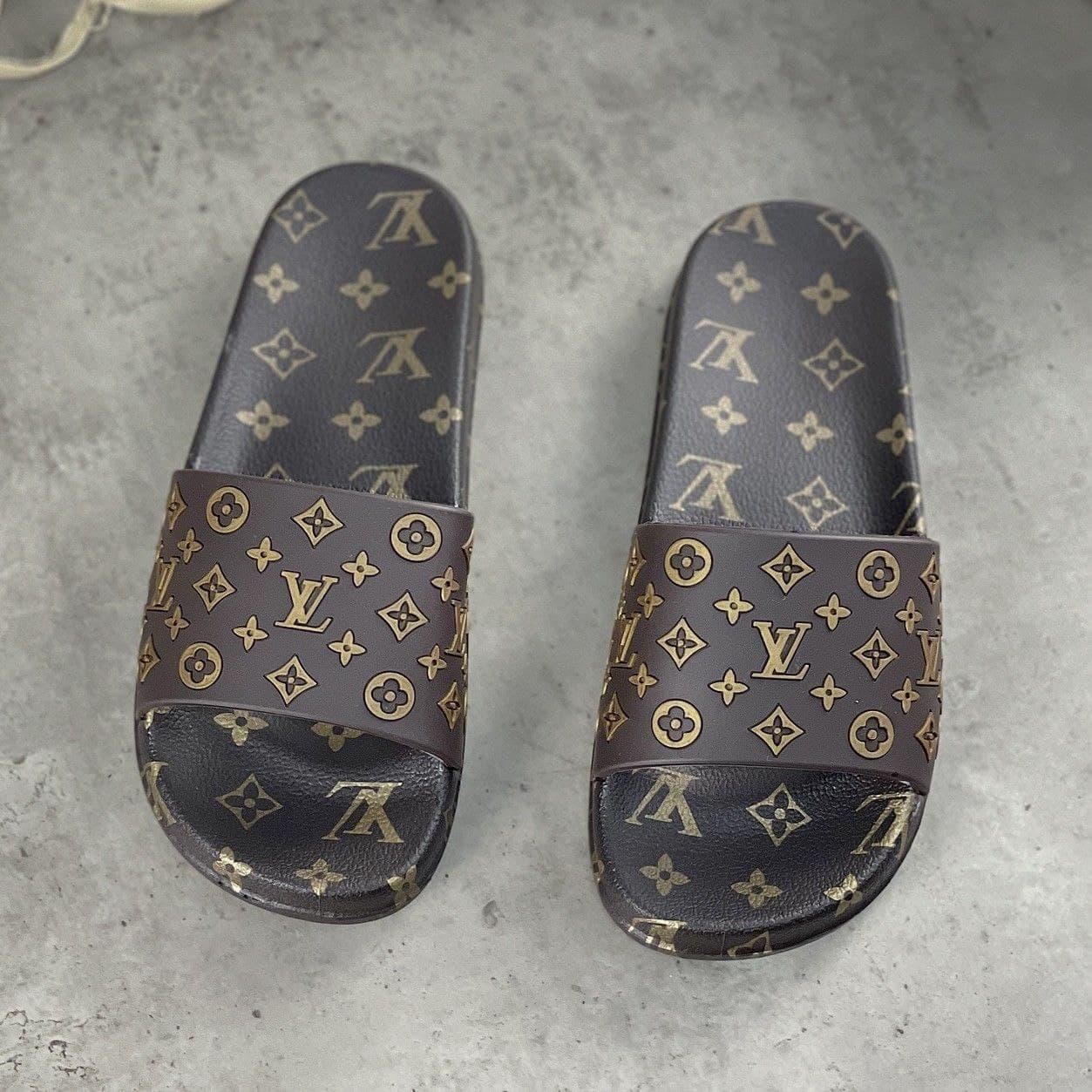 Жіночі гумові шльопанці Louis Vuitton Brown | Тапочки Луї Вітон Коричневі