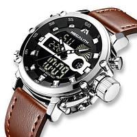 Чоловічі наручні годинники кварцові Megalith 8051M Brown-Silver-Black/чоловічий наручний годинник кварцовий