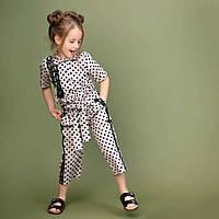 Летние брюки для девочки в горошек тм Моне р-ры 110