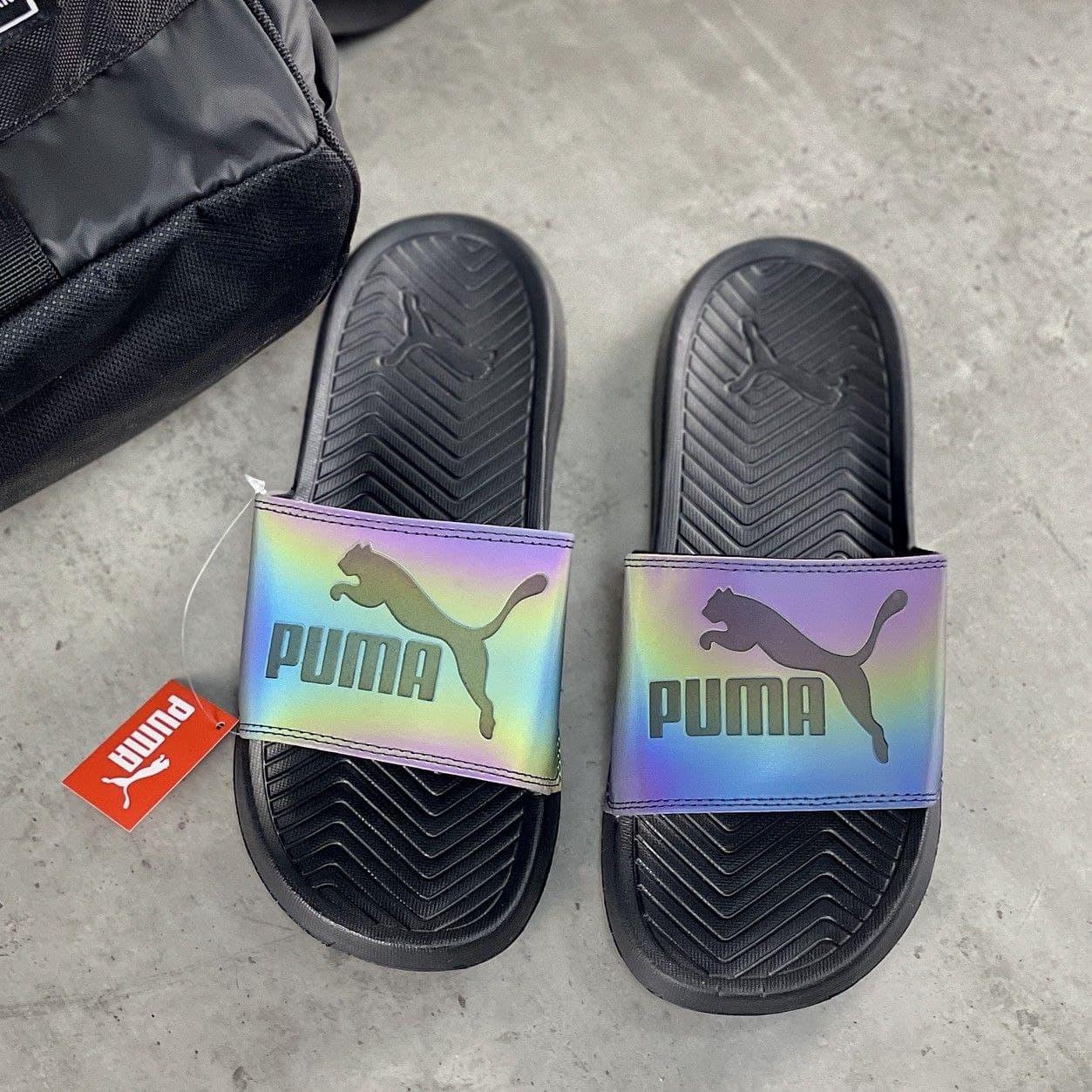 Мужские шлепанцы с логотипом Puma Black   Тапочки Пума Черные