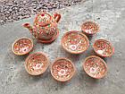Узбецький чайний сервіз Риштан з 9 предметів. Гарний чайний набір ручної роботи., фото 4