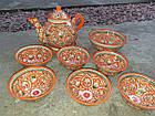 Узбекский чайный сервиз Риштан из 9 предметов. Красивый чайный сервиз ручной работы., фото 3