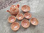 Узбекский чайный сервиз Риштан из 9 предметов. Красивый чайный сервиз ручной работы., фото 2