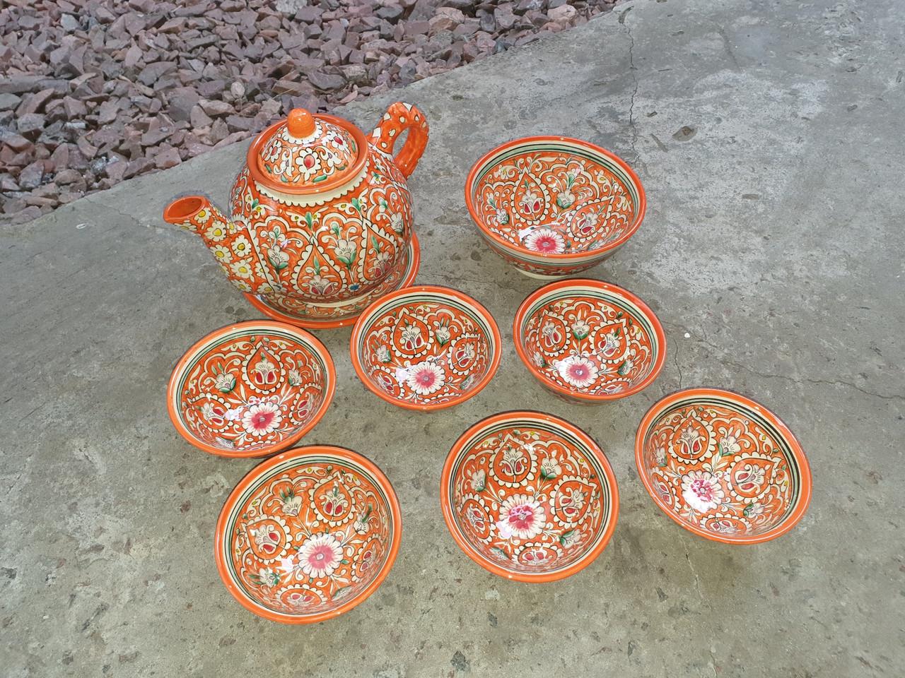 Узбекский чайный сервиз Риштан из 9 предметов. Красивый чайный сервиз ручной работы.