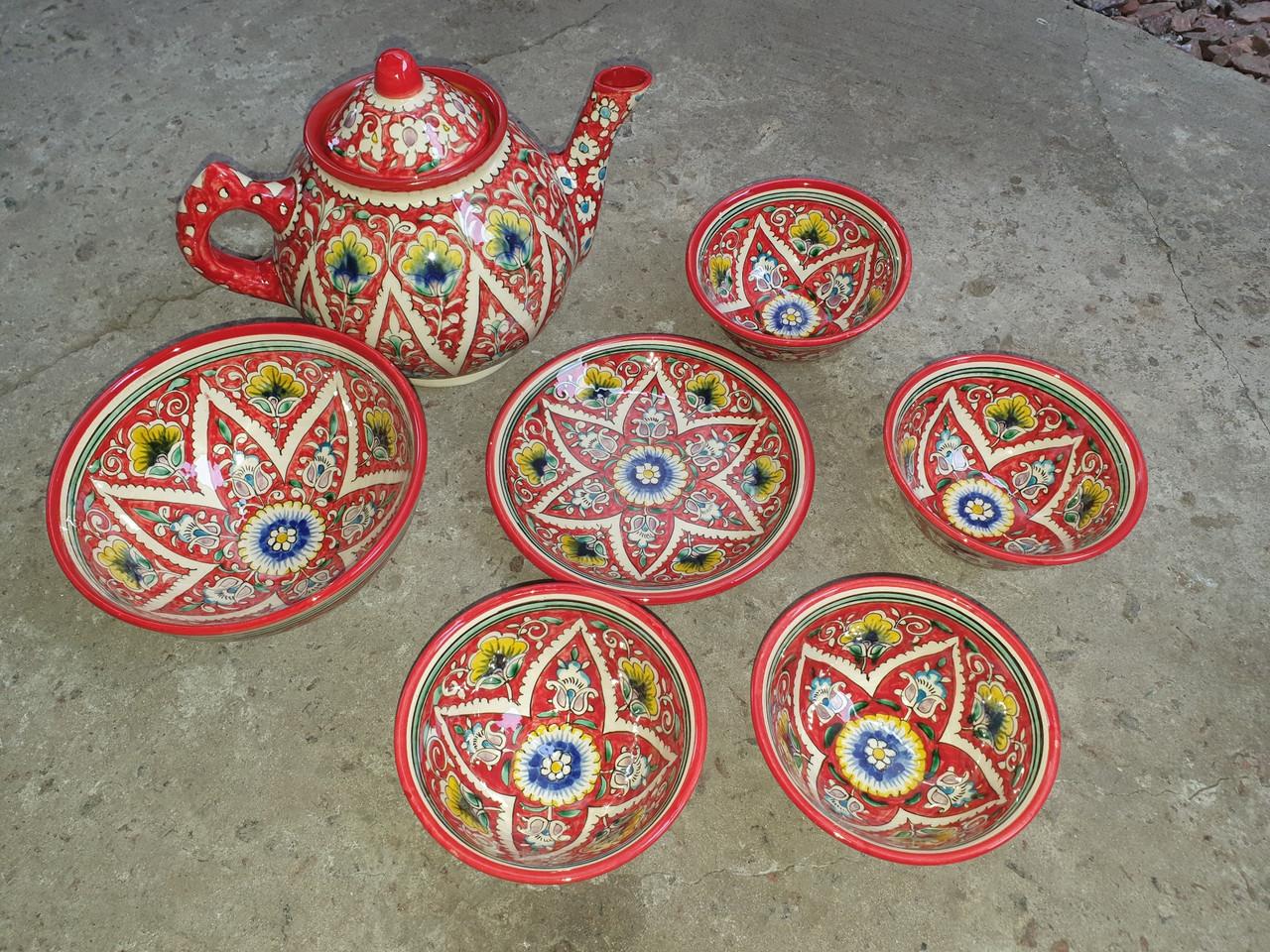 Узбекский чайный сервиз Риштан из 7 предметов. Красивый чайный сервиз.