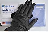 Перчатки нитриловые Medicom XL неопудренные текстурированные 50 пар Черные (MAS40035), фото 2