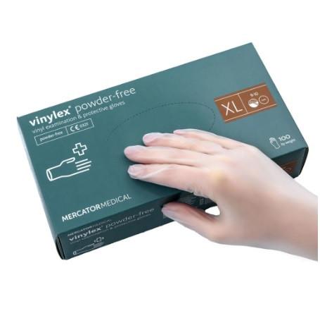 Рукавички вінілові неопудрені Mercator Medical VINYLEX PF XL 100 штук Білі (MAS40133)