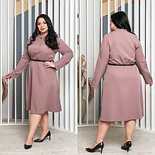 Стильное красивое миди платье с поясом бежевое джинс батал