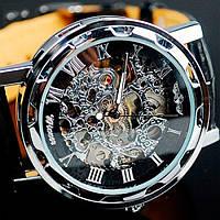 Мужские наручные механические часы Winner Black, с кожаным ремешком