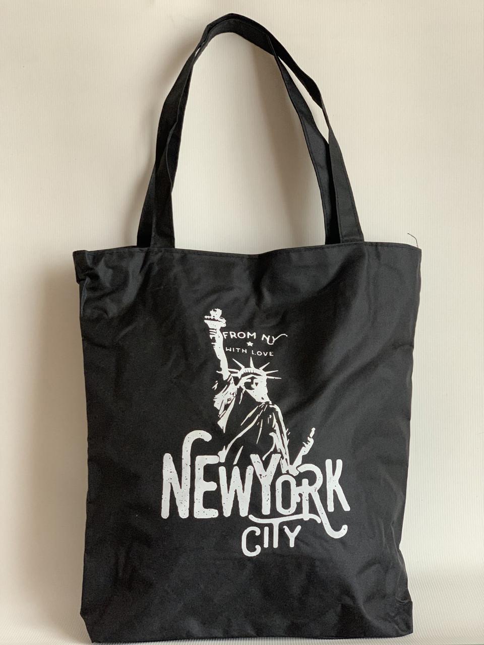Черная сумка шоппер с принтом Статуя свободы