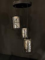 Люстра в стилі лофт на три чорних підвіса з плафоном, фото 1