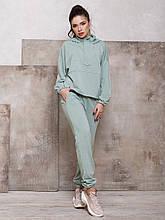 М'ятний жіночий костюм з блискавкою на горловині худі