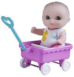 Пупс-малыш JC Toys с тележкой, 13 см
