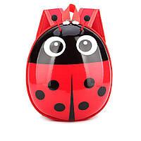 Яркий вместительный детский рюкзак для дошкольников Божья коровка красный