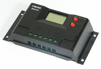 Контроллер 20А 12В/24В с дисплеем + USB гнездо (Модель-CM20D)