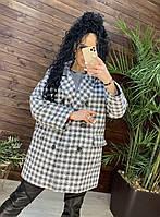 Пальто женское твид в мелкую клетку Оверсайз Черно-белый, Кофейно-молочный