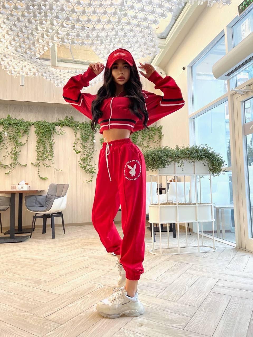 Женский спортивный костюм с логотипом Красный M
