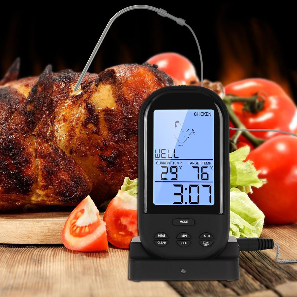 Бездротовий термометр (до 30 м) з щупом для приготування їжі YB414-SZ Black (0 до +250 °С) З ф-їй Будильник