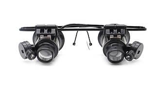 Лупа-окуляри бінокулярні 20х (раб. відстань: 1-2см, раб. поле: 1см2) з підсвічуванням Magnifier 9892-II
