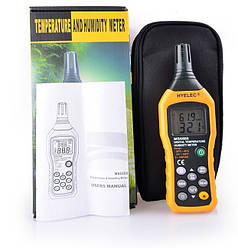 Професійний термо-гігрометр HYELEC MS6508 (0 - 100%; -20°C ... + 60°C), точка роси DEW, WB, пам'ять 99 точ