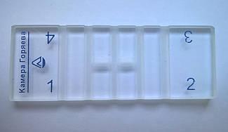 Камера Горяева (гемоцитометр) 4-х секционная с 2 покровными стёклами в комплекте