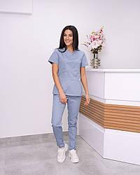Жіночий медичний костюм Avicenna Premium сіро-блакитний