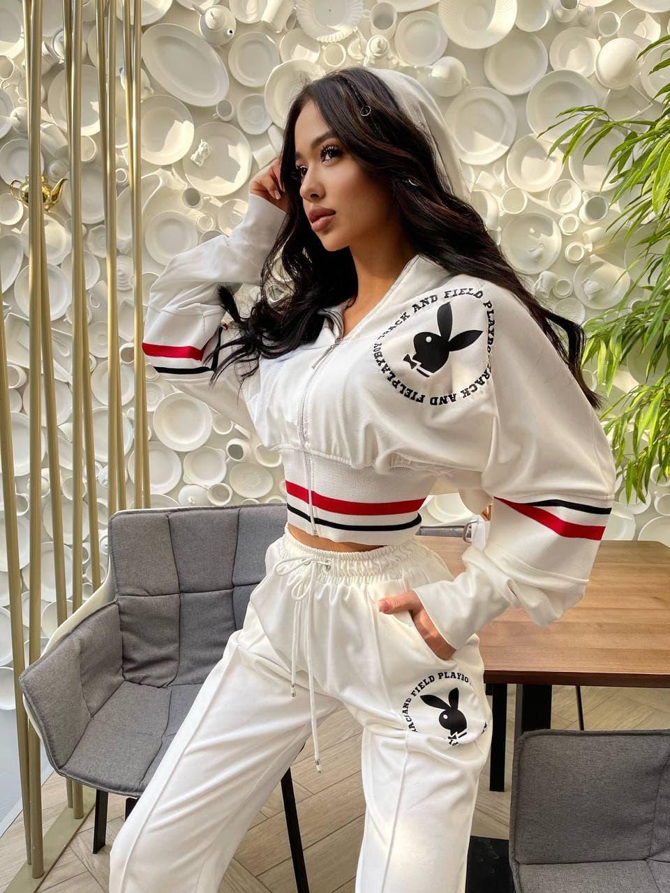 Спортивний костюм жіночий з логотипом Білий