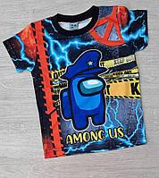Детская трикотажная футболка для мальчика Among Us 5-8 лет,синего цвета