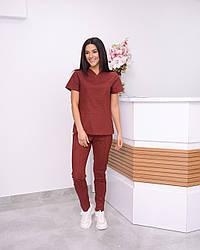 Жіночий медичний костюм Avicenna Premium бордовий