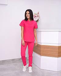 Жіночий медичний костюм Avicenna Premium малиновий