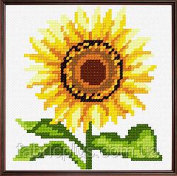 """Набор для вышивания """"Подсолнух"""" (ткань с рисунком, мулине, игла) 11*11 см"""