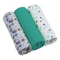 Пеленки муслиновые хлопчатобумажные 70х70 см бирюзовые BabyOno 3 шт. (5901435407998)