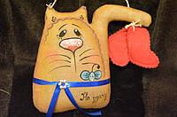 "Кот с мышкой ""На удачу""75/65, 15*14 см (цена за 1шт. +10 грн)"