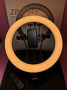 Кольцевая LED лампа ZB-F348 с пультом, 3 держателями + штатив